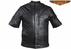 Men's Motorcycle Light Weight Short Sleeve Leather Shirt with Multiple Pockets