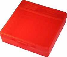 NEW MTM 100 Round Flip-Top 40/45/10MM Cal Ammo Box - Clear Red