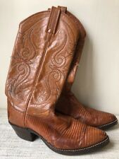 Vintage Dan Post Leather Lizard Womens Western Cowboy Tall Boots 6 1/2 USA Brown