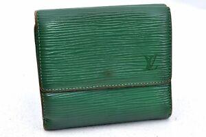 Auth Louis Vuitton Epi Porte Monnaie Billets Cartes Credit Wallet Green LV A1698
