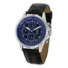 Mens Watch Classic Big Blue Face Diamond Dial Black Leather Wacht Reloj Hombres