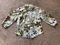 Van Heusen Women Top Shirt Button Down Blouse Shirt Floral Green Size M