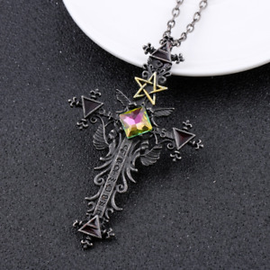 Vintage Style Gothic Cross Necklace: Pentagram with Crystal. UK Stock