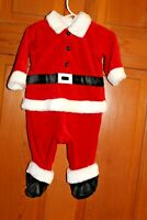 Santa Claus Christmas Pajama Outfit 6 9  Months Infant  One piece footed  EUC