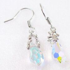 Women Hook Dangle Earrings Austria Quality AB Clear Crystal White Gold Plated UK