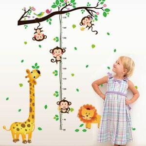 Height Measure Wall Stickers Giraffe Monkey Animals Nursery Kids Decal Removable