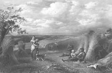 FARM FAMILY WORK & REST IN HAY BALES FIELD ~ Antique 1862 Art Print Engraving