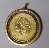 1904 $20 Liberty Gold Double Eagle In Fancy 14k Gold Bezel Coin Frame