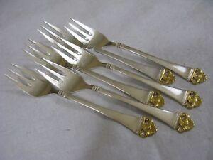 Robbe und Berking Rosenmuster Gold 6 Kuchengabeln Echtsilber 800er