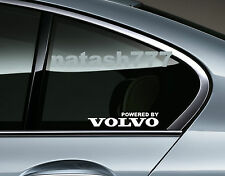 Powered by VOLVO Sport Racing Decal sticker Window emblem logo WHITE Pair