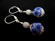 A PAIR OF PORCELAIN FLORAL BEAD  DROP DANGLY LEVERBACK HOOK EARRINGS. NEW.