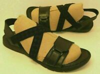 BORN Womens BRITTON Black Leather Slip On Flat Strappy Sandals (Size 7)