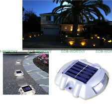 4 Pack Solar Pathway LED Marker Driveway Road Garden Pool Dock Auto White Light