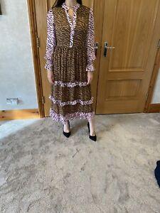 Olivia Rubin Florence Ruffle Trimmed Printed Silk Midi Dress/UK 8/RRP £212