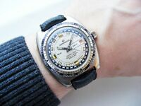 RARE VINTAGE CONTINENTAL / SICURA GMT DATE WRISTWATCH WITH TROPIC BAND 1970'S!
