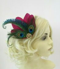 Burgundy Wine Red Green Gold Peacock Feather Fascinator Hair Clip 1920s vtg 0688