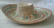 Unique Mexican ceramic sombrero hat chip dip bowl signed and dated 2009  dsk