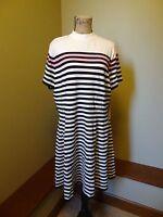NWT Elle Sweater Dress Women's XXL 2XL XX-Large, White w/ Black Stripes