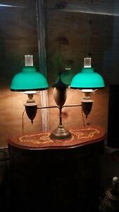 Antique Bradley Hubbard Student Double Oil Lamp Original Emeralite Shades