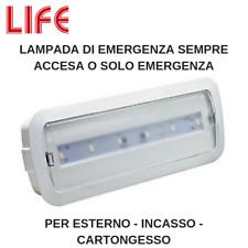 LAMPADA DI EMERGENZA A LED 3 W SA SE PER ESTERNO INCASSO CARTONGESSO