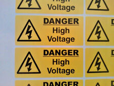 10 X Danger High Voltage stickers 100mm X 40mm Warning & Safety Signs
