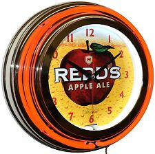 "Redd's Apple Ale * Together We Beer * 15"" Red Double Neon Advertising Clock"