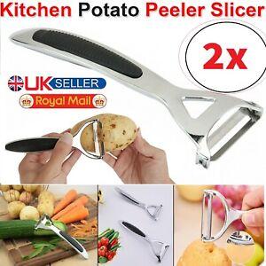 2x Kitchen Potato Vegetable Peeler Fruit Slicer Rapid Heavy Duty Stainless Steel