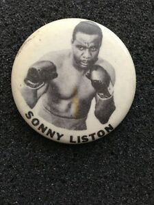 Sonny Liston Pin Button ALI 1960s Vintage original Boxing Champion nice shape nm
