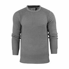 Mens Jumper Brave Soul Binary Fisherman Knitted Crew Neck Sweater LT Grey Medium