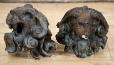 Large Pair Of Antique Art Deco Copper Lion Heads -  Architectural Salvage
