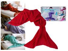 Red Kids Fish Scale Mermaid Tail Blanket Handmade Knit Sofa Crochet Quilt Rug