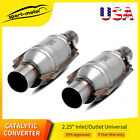 """Pair 2pc EPA Approved 2.25"""" Catalytic Converter Universal Fit ECOII 4"""" Round"""