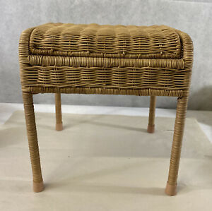 """Small Wicker Chair Seat Foot Stool Bench Fold Up Lid Furniture 12"""" X 10"""" X 11"""""""