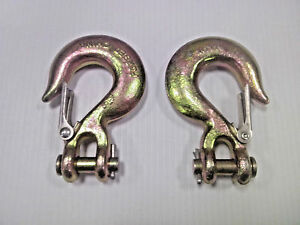"""(2) 5/16"""" Grade 70 Clevis Safety Slip Hooks, Forged Alloy - Free S&H in USA."""