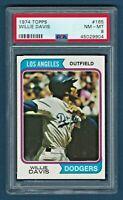 1974 Topps #165 - Willie Davis - Los Angeles Dodgers - NM-MT - PSA 8
