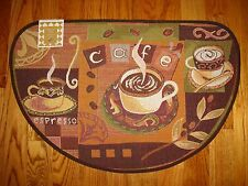 Cafe Coffee Mocha Java  Espresso Tapestry Kitchen Slice Rug Mat! 20x30 NEW!!