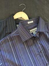 Pronto Uomo Mens No Iron Dress Shirt Striped Purple Black Size XLT Tall Lot Two