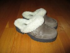 Ladies UGGS Australia Taupe Brown Sherpa Lined Clogs Heels Size 7