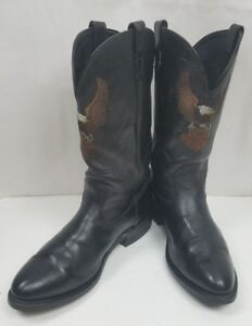 HARLEY DAVIDSON 8600 COWBOY LEATHER BLACK BOOTS USA Made MEN'S SIZE: 11.5 EE