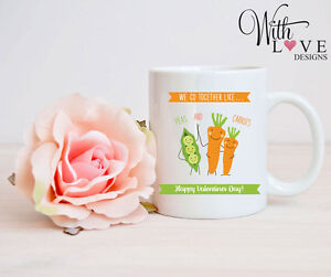 PEAS CARROTS MUG CUP PERSONALISE WEDDING ANNIVERSARY VALENTINES DAY PRESENT GIFT