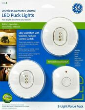 GE 17494 Wireless Remote Control LED Puck Lights, 2 SETS, White, EXC!