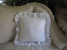 """COTTAGE WHITE EMBROIDERED RUFFLED DECORATIVE 16"""" X 16"""" SQUARE BED PILLOW"""