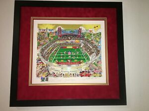 San Francisco 49ers CHARLES FAZZINO Signed JERRY RICE Remarque FRAMED RARE 42PR