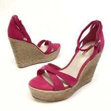 ✅❤️✅$  BCBG Holly Sandal Espadrilles Wedge 10 E40 Ankle Suede Pink Platform NWOB