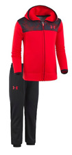 Under Armour Boys 18M Utility Camo Hoodie Set Jacket Pant Combo Red/Black NWT