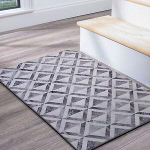 Grey Doormat Faux Cowhides Soft Patchwork Geometric Carpet Mat 50x80cm