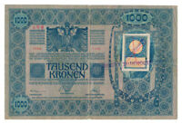 YUGOSLAVIA banknote 1000 Kronen 1919 cyrillic stamp, Pick#10 VF