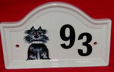 Lot porte numéro porcelaine porte plaque, scottie chien porte numéro plaque, chien signe