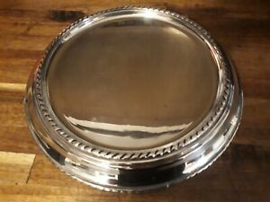 """Pottery Barn Silver Plated Pillar Candle Holder large 10"""" diameter"""