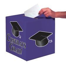 "Purple Black Graduation Card Box 9 x 9 ""Congrats Grad"" Graduation"